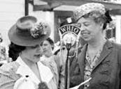 Audrey Wilcke Evans interviewing Eleanor Roosevelt for WHIO Radio in Dayton, Ohio, ca. 1941.