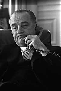 Lyndon Johnson working the telephone. Photo from LBJ Presidential Library