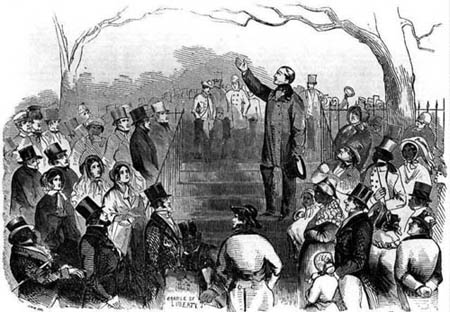 Wendell Phillips (1811-1884) addressing an April 11,1851 meeting to protest the case of Thomas Sims, a fugitive slave being tried in Boston.